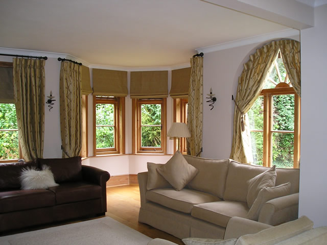 Lounge curtains - arched window