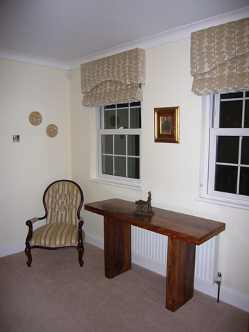 Hall blinds and upholstered chair