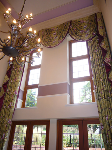 Long formal hall curtains