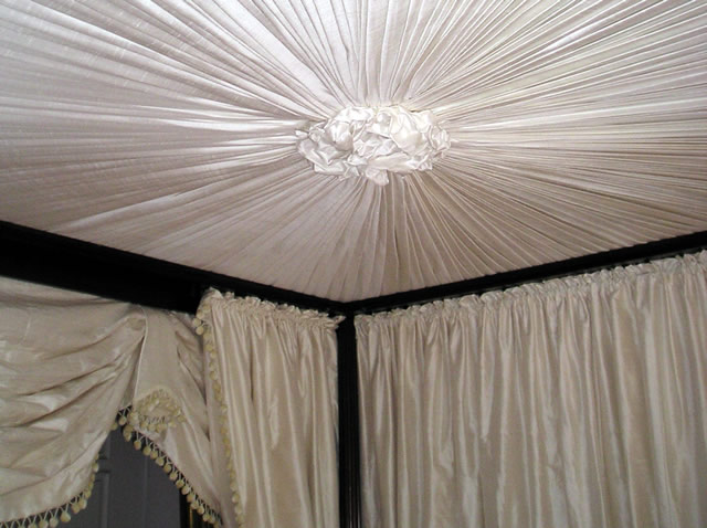Satin four poster bed canopy and drapes
